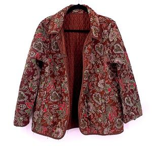 Vintage quilted jacket size large brown paisley